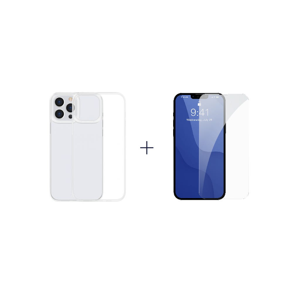 [Bundle] iP13/13 Pro (Baseus Simple Case For iP 6.1 Pro inch 2021 Transparent) + iP13/13 Pro (Baseus 0.3mm Full-glass Tempered Glass Film For iP 6.1/6.1 Pro inch 2021)