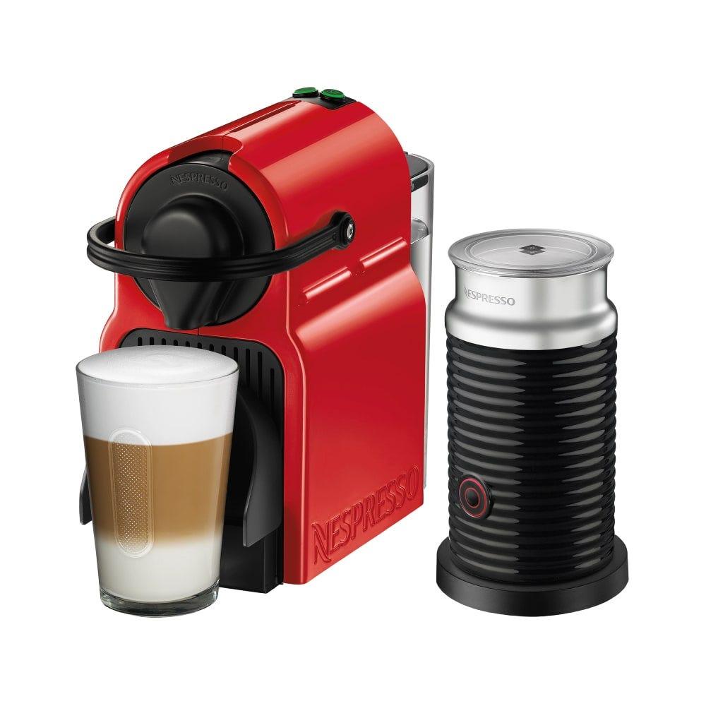 Nespresso Inissia Ruby Red & Aeroccino Milk Frother A3C40-ME-RE-NE