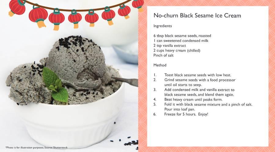 No-churn Black Sesame Ice Cream