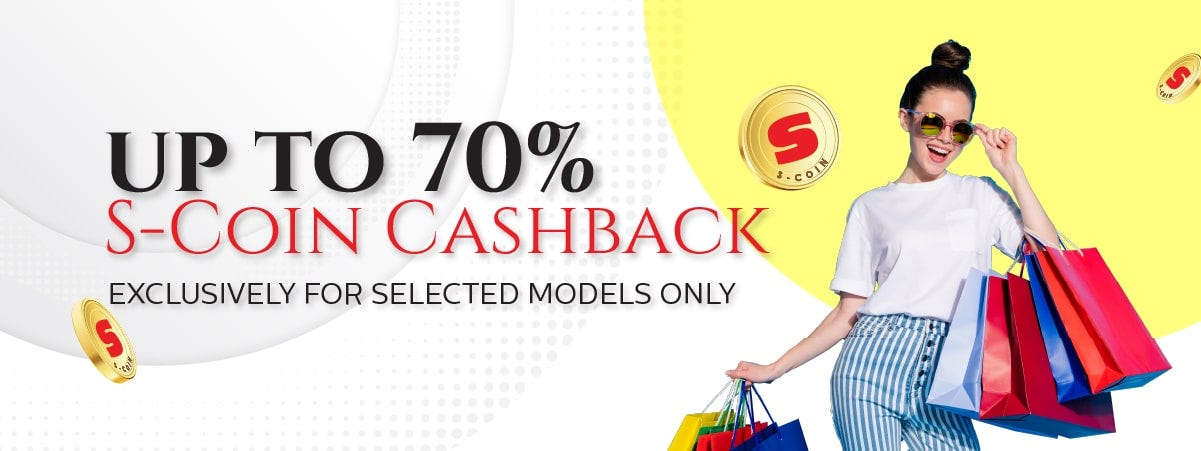 up to 70percent S-Coin Cashback