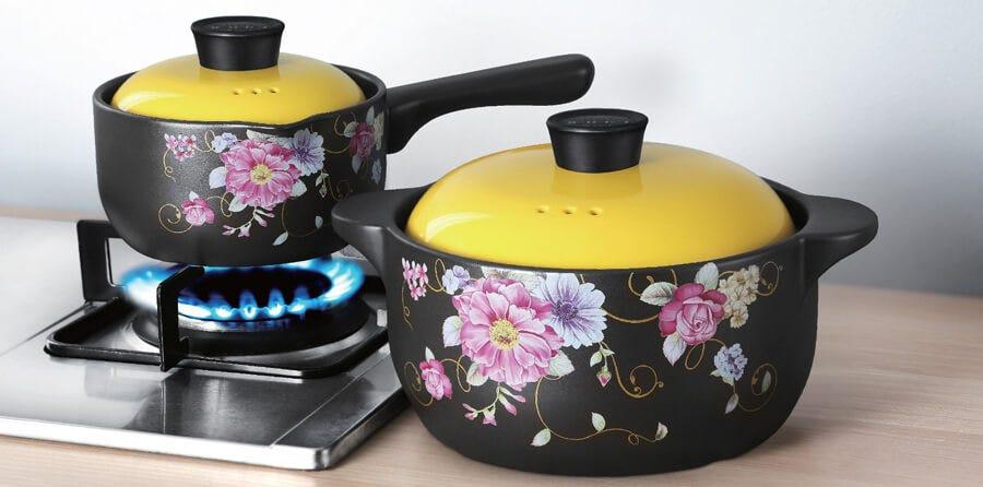 Color King Combo Set with Ceramic Stock Pot and Sauce Pan