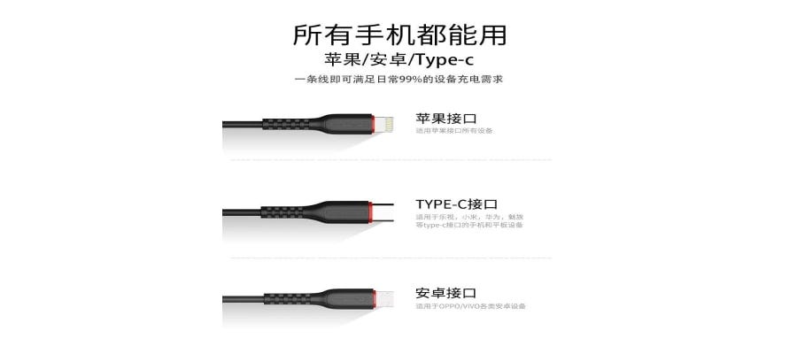 Jellico 3 in 1 Lightning + Micro USB + Type C Fast Charge USB Cable MT13