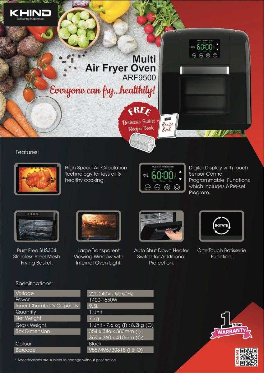 Khind Multi Air Fryer Oven ARF9500