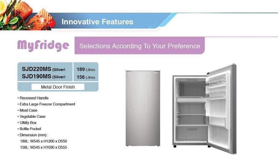 Sharp 189L Single Door Refrigerator Metal Door Finish SHP-SJD220MS Silver