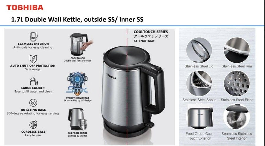 Toshiba 1.7L Stainless Steel Cordless Jug Kettle TSB-KT17DR1NMY
